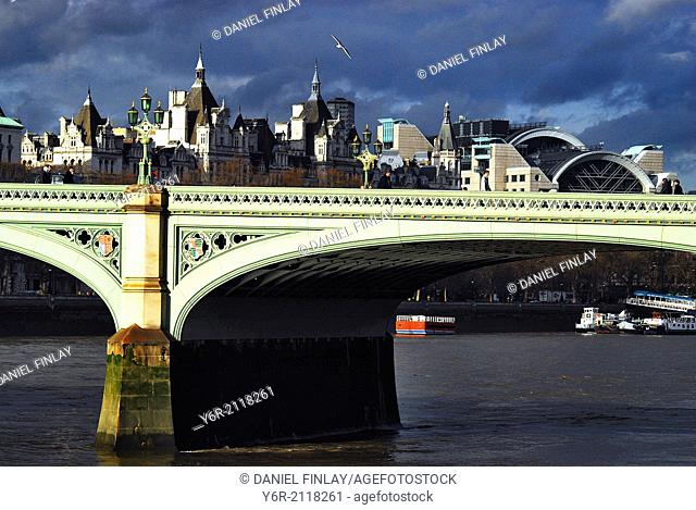Westminster Bridge in the heart of London, England, on a Winter day of mixed sunshine and shadow