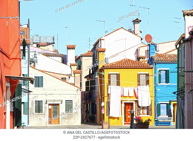 Vibrant, colorful street in Burano, Venice, Italy