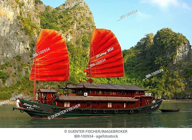Traditional Vietnamese junk boat in Halong Bay Viet Nam