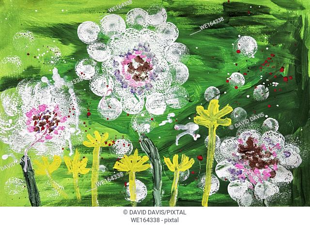 Childs acrylic painting of flowers on artist paper