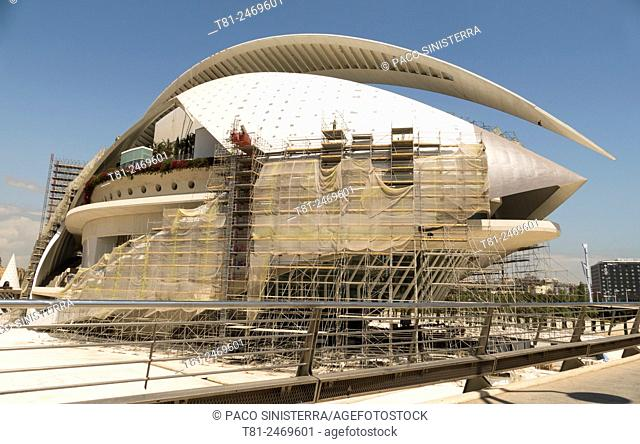 Palau de les Arts Reina Sofia opera house under construction, City of Arts and Sciences, Valencia, Spain