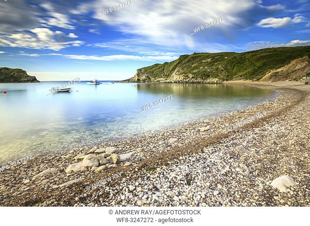 Lulworth Cove on Dorset's Jurassic Coast, captured on a morning in early July. A long shutter speed was utilised to blur the movement in the clouds and water