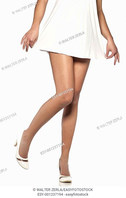 Long slim legs of woman