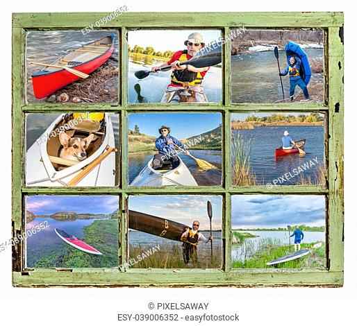 paddling vacation or recreation concept - paddling kayak, canoe, SUP and packraft through vintage window, all pictures copyright by the photographer with the...