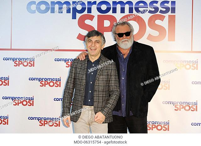 Italian actors Vincenzo Salemme e Diego Abatantuono attend the Compromessi sposi photocall at the Meridien Visconti Hotel. Rome, January 21st, 2019