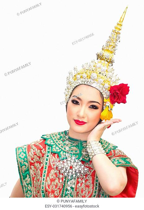 khon show sita in a ramayana epic and beautiful traditional costume of thailand