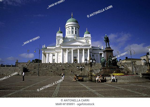 europe, finland, helsinki, senate square, lutheran church