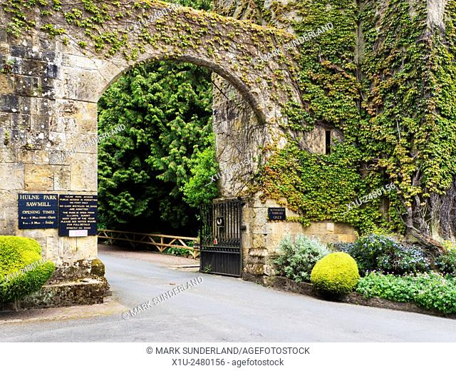 Entrance Gate to Hulne Park on Ratten Row in Alnwick Northumberland England