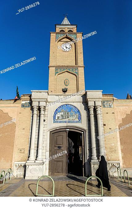 Clock tower of Aramenian Apostolic Holy Savior Cathedral (known as Vank Cathedral) in New Julfa district of Isfahan, Iran