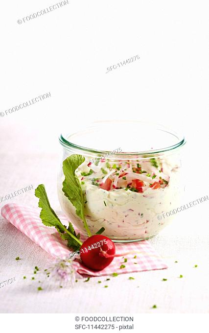 A cream cheese and radish dip