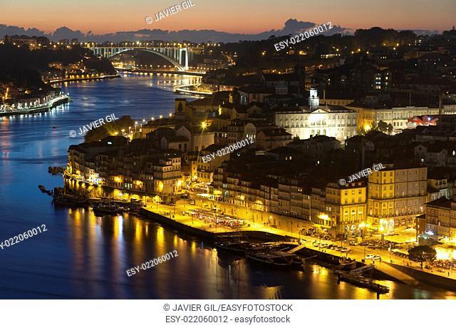 Nightfall in Porto, Portugal