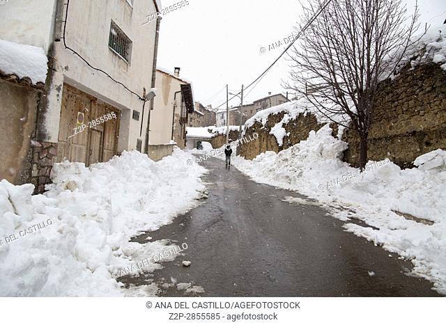 Beautiful winter landscape Gudar sierra Teruel Aragon Linares de Mora is one of the most beautiful villages in Spain