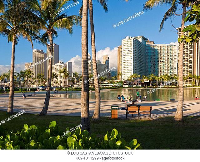Waikiki Beach Buildings  Honolulu Oahu Hawaii  USA