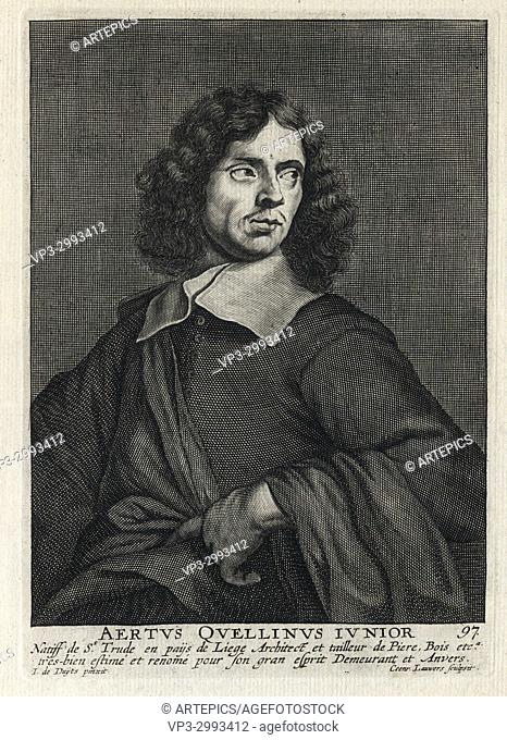 aERTUS QUELLINUS JUNIOR - Woodcut portrait and short biography (old french language) - Engraving 17th century