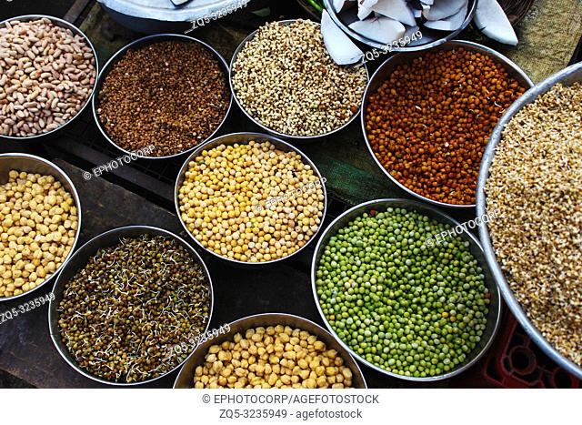 Lentils and sprouts for sale at vegetable market Pune, Maharashtra