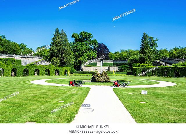 the Baroque gardens in the Würzburg Residence, a UNESCO World Heritage Site, Wuerzburg, Franconia, Bavaria, Germany