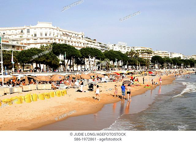 People on the La Croisette Beach, Cannes, French Riviera, France
