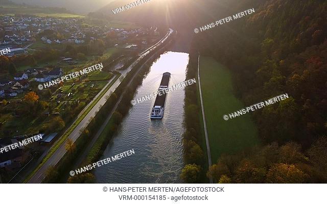 Cargo ship on Saar River near Staadt, Rhineland-Palatinate, Germany