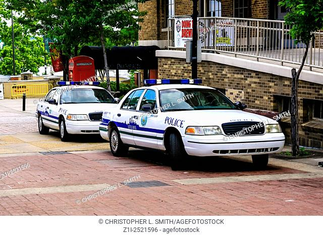 Little Rock Arkinsas Police cruisers parked up in the River Market district