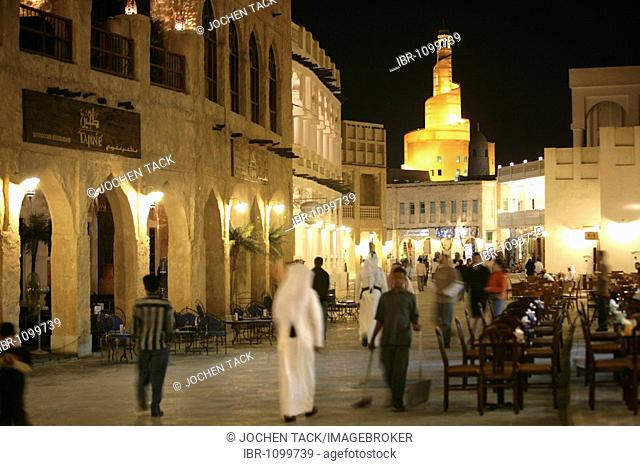 Souq al Waqif in the evening, oldest souq, bazaar in the country, the old part is newly renovated, the newer parts have been reconstructed in a historical style