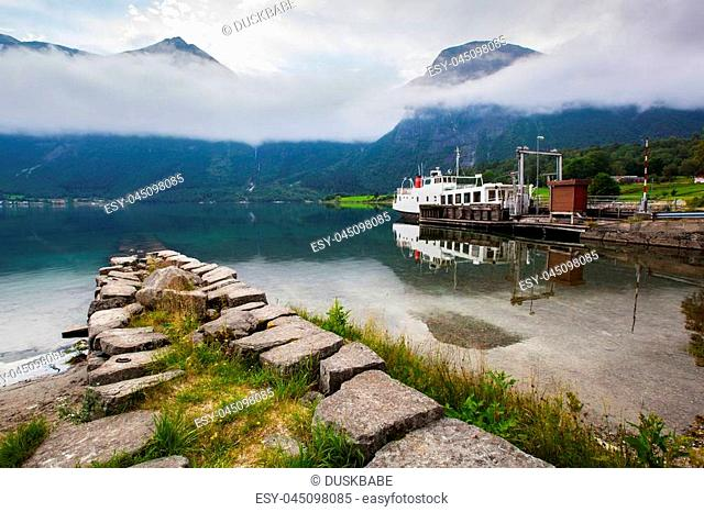 beautyful landscape lake and boat, Norway