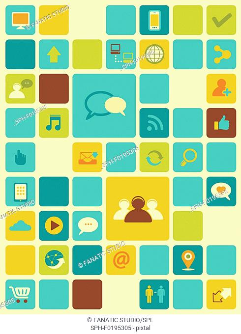 Illustration of internet icons over coloured background