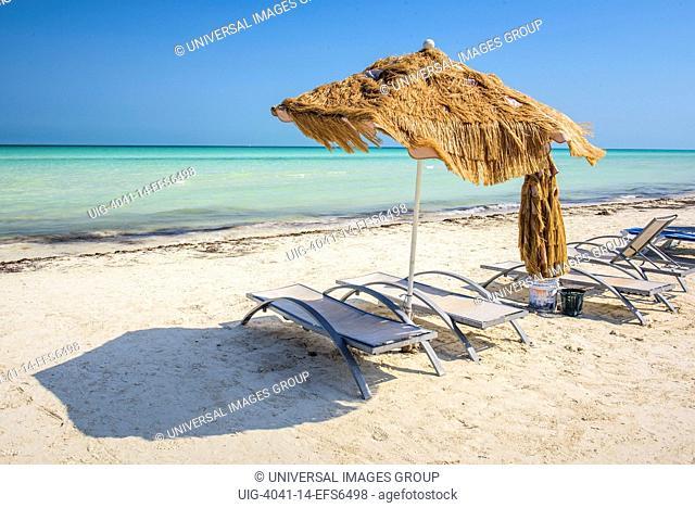 Chaise-longue in a beach in Isla Holbox, Quintana Roo, Mexico