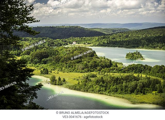 View of Le Grand Maclu and Motte ou d'Ilay lakes (department of Jura, region of Bourgogne-Franche-Comté, France)