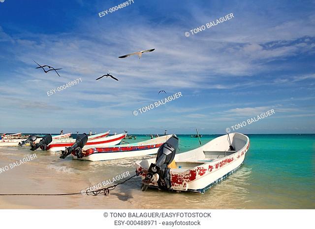 Mayan Riviera Mexico Puerto Morelos beach boats turquoise Caribbean sea