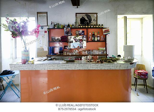 Interior of a village bar. Santo-Pietro-di-Tenda, Corsega, France