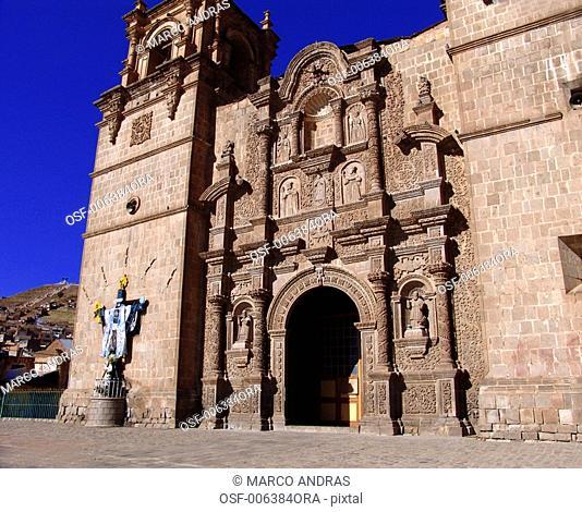 peru puno city cathedral facade empty