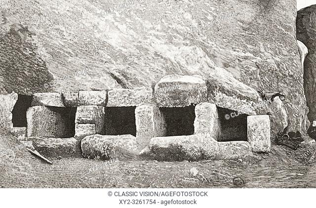 The necropolis, Punta de la Vaca, Cadiz, Spain, seen here shortly after its discovery in the late 19th century. From La Ilustracion Espanola y Americana