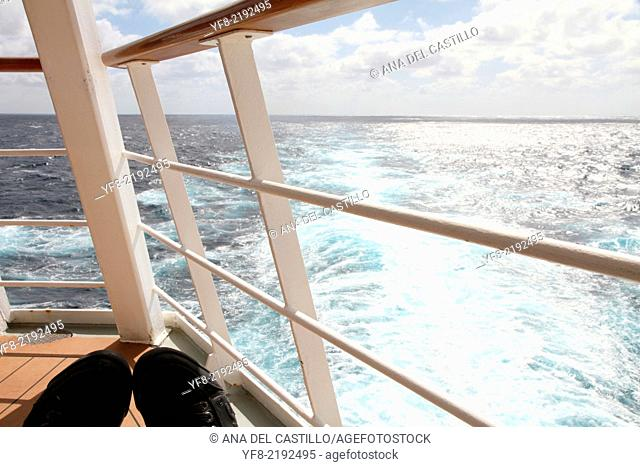 View from a cruise ship Atlantic ocean