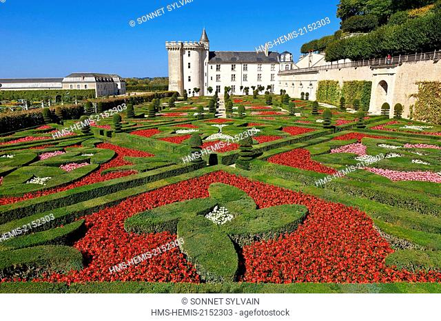 France, Indre et Loire, Loire Valley listed as World Heritage by UNESCO, Chateau de Villandry, the castle and the gardens