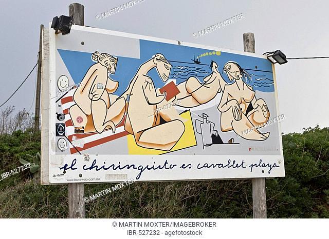 Sign for Es Cavallet beach, Ibiza, Balearen, Spanien