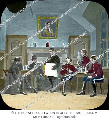 (I call on Mr Doberton ) Mr Dobberton - various men , some in Uniform holding a meeting. Part of Box 52 Boswell collection. Nursery Rhymes