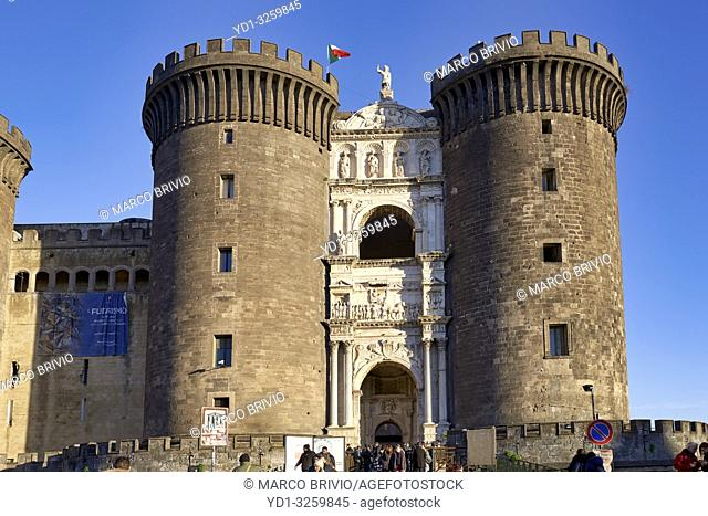 Naples, Campania, Italy. Castel Nuovo (New Castle), often called Maschio Angioino, is a medieval castle located in front of Piazza Municipio and the city...