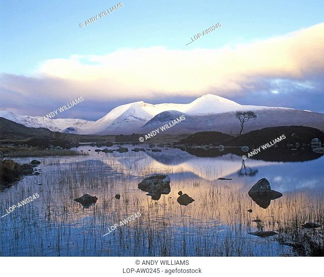 Scotland, Highland, Rannoch Moor, Reflections in the water at Loch Na H,ÄôAchlaise