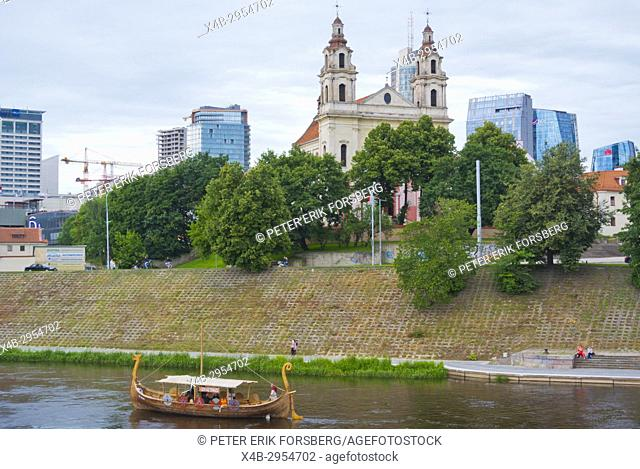 Sightseeing river cruise tour boat, Neris river, Vilnius, Lithuania