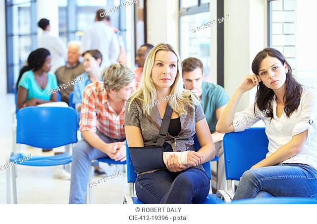 Women sitting in hospital waiting room