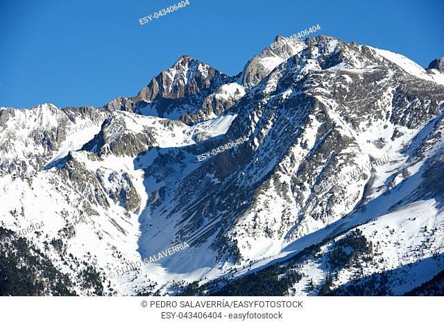 Snowy peak in Tena Valley, Aragon, Huesca, Spain