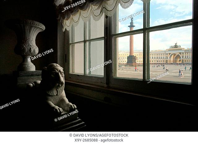Saint Petersburg Russia. Alexander Column, Palace Square and Genereal Staff Building seen through window of the Winter Palace