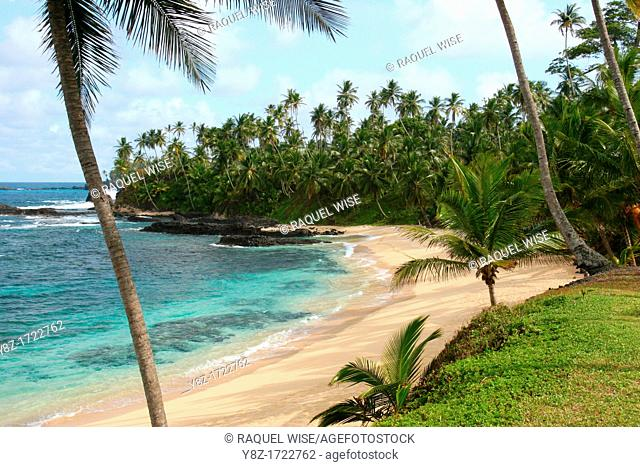 Beach on the island of Sao Tome, one of the islands of the Democratic Republic of Sao Tome and Principe