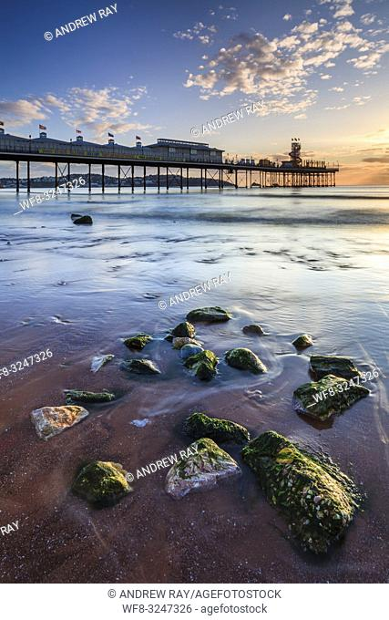 Boulders on Paignton Beach captured shortly after sunrise on a morning in mid September