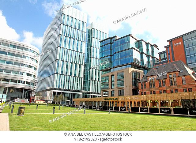 Spinningfield is a modern area was specially developed in the 2000s as a business, retail and residential development of Manchester, England, UK