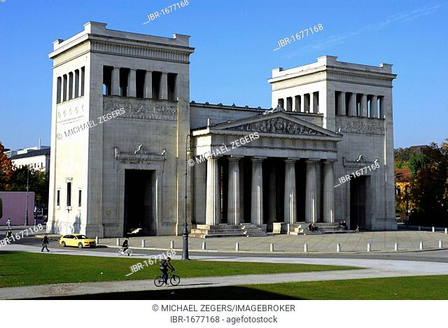The propylaeum, a neo-classical gate building on the Koenigsplatz square, Maxvorstadt, Munich, Upper Bavaria, Germany, Europe