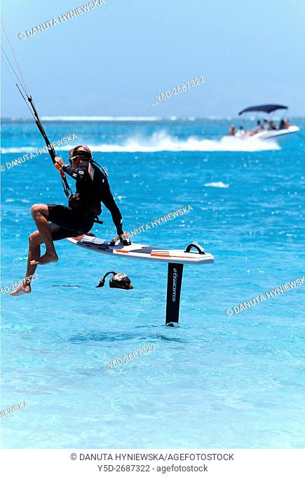 surfer with his foilboard, new fast surfing sport - Foil boarding, Pointe d'Esny beach, Grand Port District, Southeastern coast of Mauritius, Mascarene