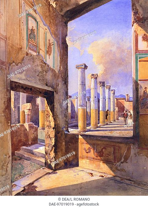 The House of the Coloured Capitals in Pompeii, 1856, by Giacinto Gigante (1806-1876). Pencil, pen and watercolor 40,4x30,7 cm