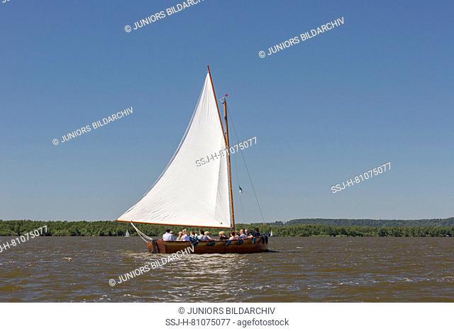 Historic sailing boat (Auswanderer) on Lake Steinhude. Lower Saxony, Germany