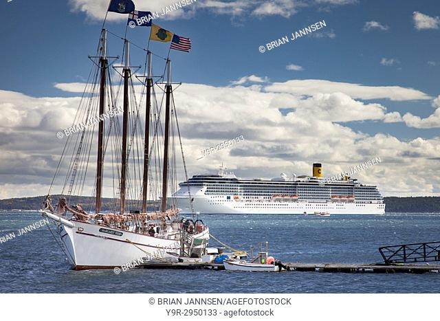 The Schooner Margaret Todd with the Costa Atlantica Cruise Ship beyond, moored in Bar Harbor, Maine, USA
